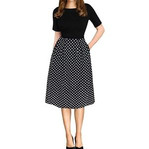 Half Sleeve Vintage Inspired Polka Dot Swing Dress